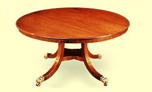 Barton Sharpe Regency Round Mahogany Dining Table